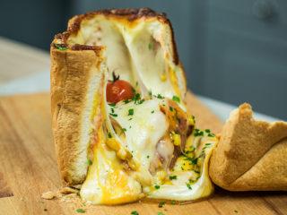 Salami, Mozzarella and Spinach Stuffed Bread