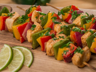 Roasted Chicken and Bell Pepper Skewers