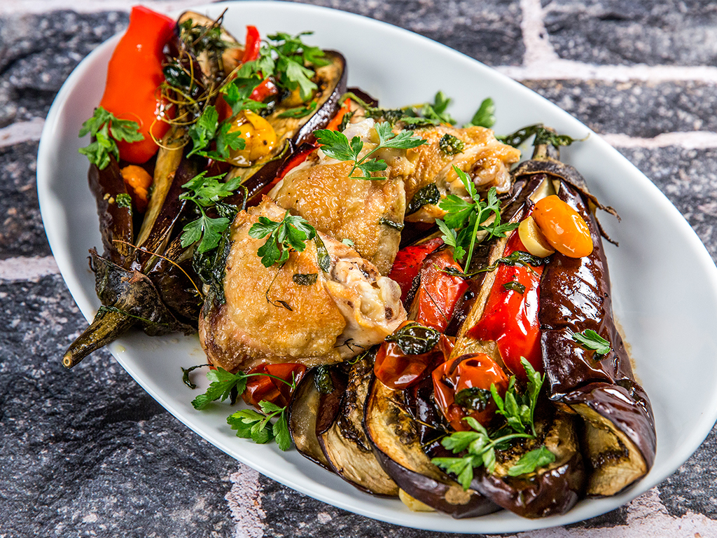 Baked Eggplant Fan and Chicken Thighs -