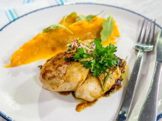 chicken breast with pumpkin puree