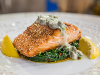 Pan-Fried Salmon with Spinach and Caper Sauce