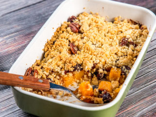 sweet potato, cranberry and pecan crisp