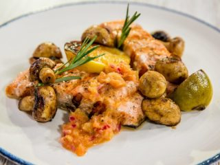 Grilled Salmon with Aromatic Mushrooms