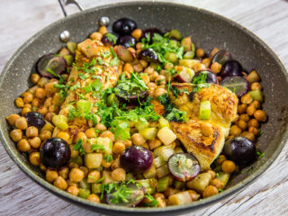 chickpea, grape and turkey skillet