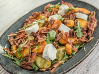 Bacon, Pecan, and Sweet Potato Arugula Salad for Two