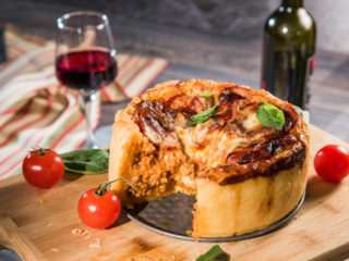 lasagna and mozzarella beef pie