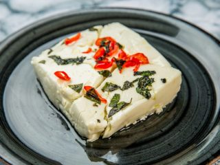 baked feta with chili and basil