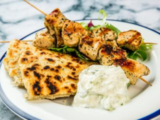 oregano chicken breast skewers and pita with tzatziki