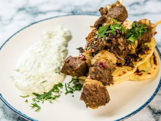 marinated lamb souvlaki with tzatziki