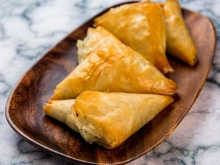 baby spinach cheesy phyllo triangles