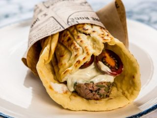pork souvlaki with pita and tzatziki