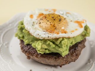 Sunny Side Up Egg and Avocado Burger
