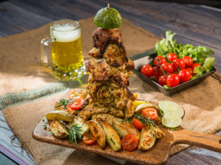 Spicy Chicken Breast Kebab with Potato Wedges