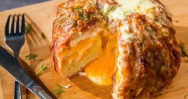 bacon wrapped cheddar stuffed cauliflower