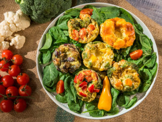 veggie and cheddar egg muffins