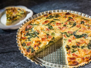 Bacon and Parmesan Quiche with Creme Fraiche
