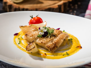 pan-fried pangasius with mango sauce