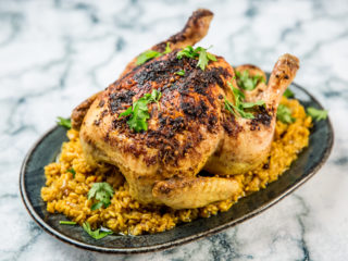 Whole Roasted Chicken with Saffron Rice
