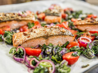 Honey-Glazed Salmon with Roasted Veggie Salad