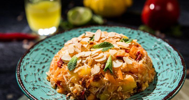 Apple, Goji and Mango Salad with Hot Citrus Dressing