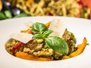 trofie pasta with chicken and pesto