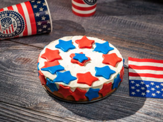 American Flag Red Velvet Cheesecake