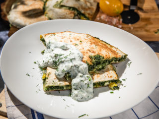 spinach quesadilla with tzatziki