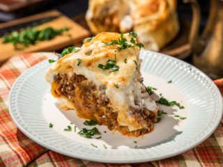 Lasagna and Beef Cake with Bechamel Sauce