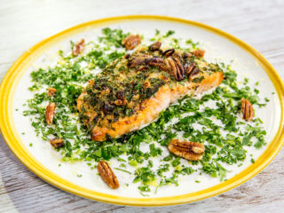 Roasted Salmon with Pecan Coating