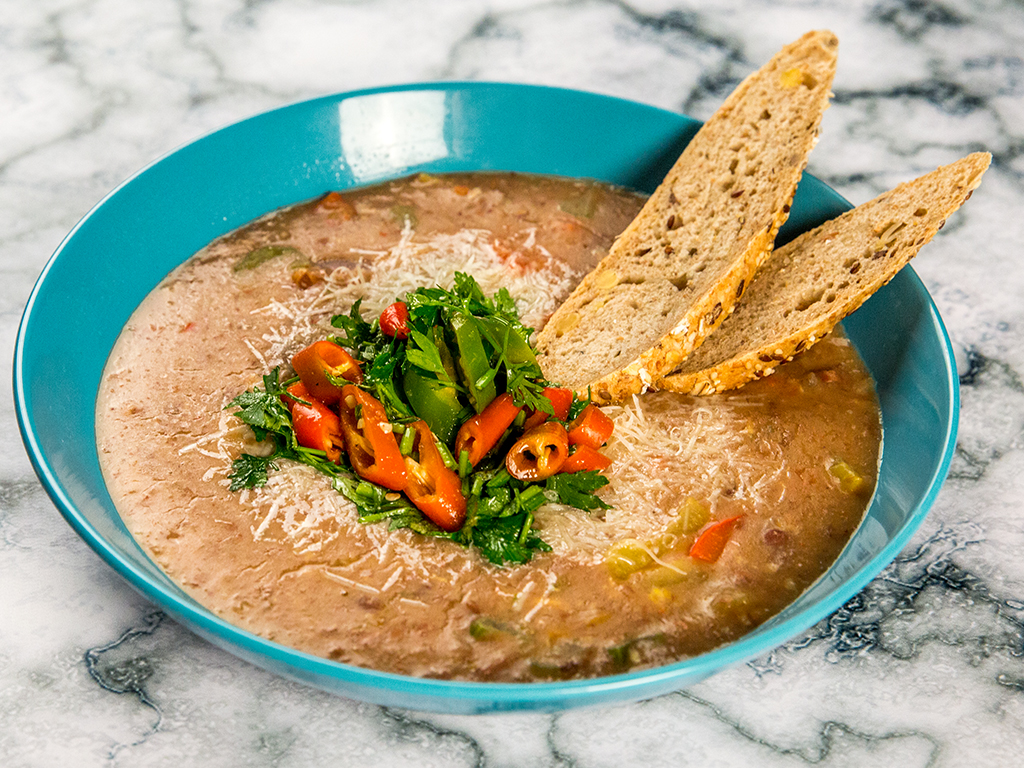 Black Bean Cream Soup with Egg and Parmesan