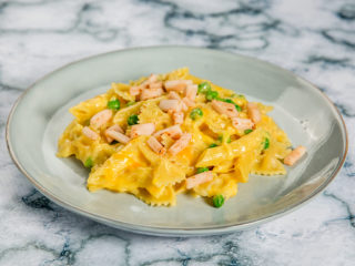 Three Cheese Pasta with Ham and Peas