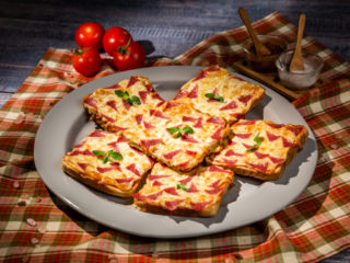 Pizza Toast with Salami and Mozzarella