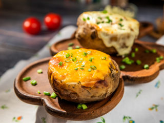 Cheesy Ground Beef Stuffed Potatoes
