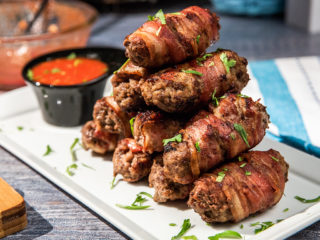 Bacon-Wrapped Kebapche with Honey Red Sauce