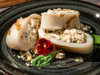Feta and Walnut Stuffed Squid with Garlic Sauce