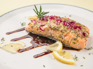 Roasted Salmon with Herb Mustard Glaze