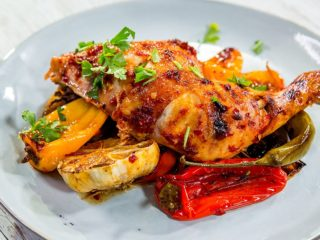 Harissa Roast Chicken with Bell Peppers and Chilis