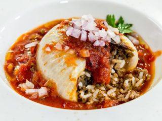 Lamb Rice Stuffed Onions with Coriander Tomato Sauce