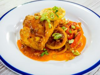 Spicy Perch with Bell Peppers and Lemon