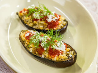 Lentil and Rice Stuffed Eggplant