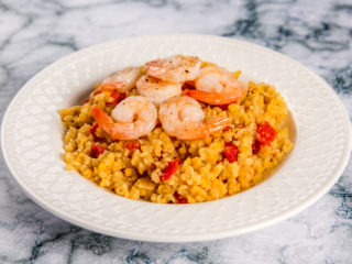 Warm Bulgur and Lentil Salad with Shrimp