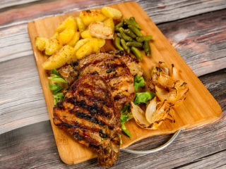 Grilled Pork Neck with Parmesan Potatoes