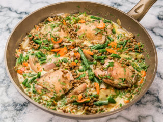 White Wine Chicken Thighs and Lentils