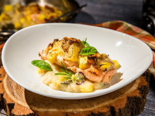 Baked Salmon with Tropical Fruit Sauce