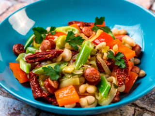 Sausage, Sun-Dried Tomato and Bean Stir-Fry
