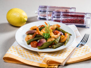 Warm Okra and Shrimp Salad