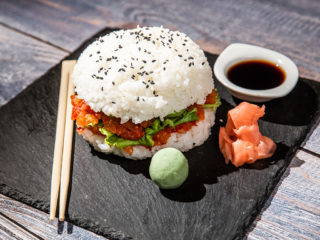 Avocado and Salmon Sushi Burger