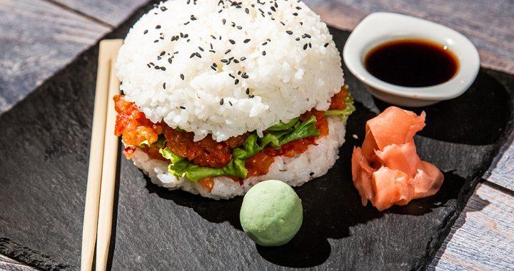 Avocado and Salmon Sushi Burger