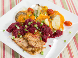 Sweet Potato and Turkey Breast with Beetroot Sauce