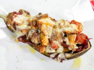 Cheesy Chicken-Stuffed Eggplant